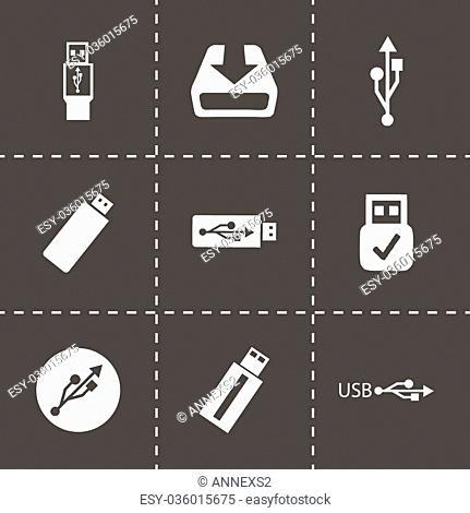 Vector USB icons set on black background