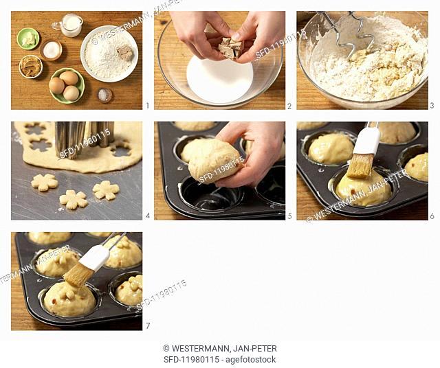 Mini peanut butter and spelt brioche being made