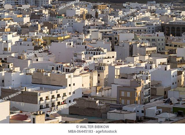 Spain, Canary Islands, Lanzarote, Arecife, elevated city view, morning