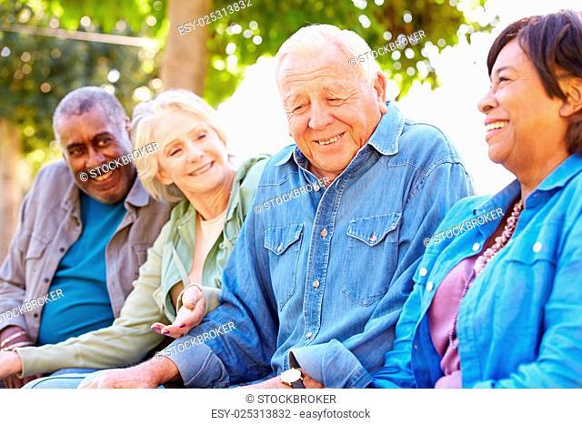 Outdoor Group Portrait Of Senior Friends
