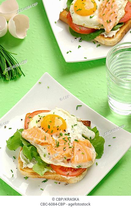 Fried Egg and Salmon on Toast Decorated with Chive