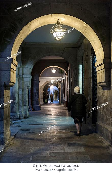 Old arch in the streets of Santiago de Compostela, Galicia, Spain, Europe