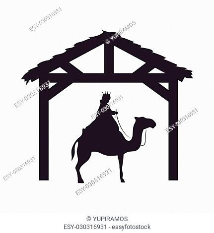 magi king man riding a camel. nativity silhouette design. vector illustration
