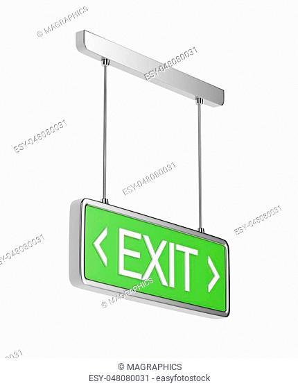 Emergency exit sign isolated on white background