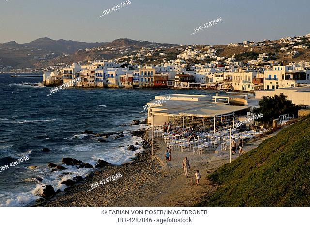 District Little Venice in the evening light, Chora or Mykonos Town, Mykonos, Cyclades, Greece