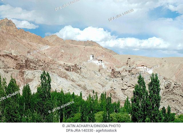 Basgo fort and Chamba Lha Khong Gompa in 16th Century ; Basgo ; Leh ; Ladakh ; Jammu and Kashmir ; India