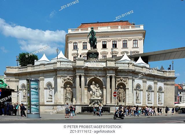 Albertina Museum for Graphic Art in Vienna with Equestrian statue of Archduke Albrecht - Austria