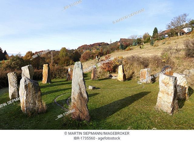 Stone circle, Celtic megalith replicas, Geyersberg, Bergen municipality in the Dunkelsteinerwald area, Wachau, Mostviertel region, Lower Austria, Austria