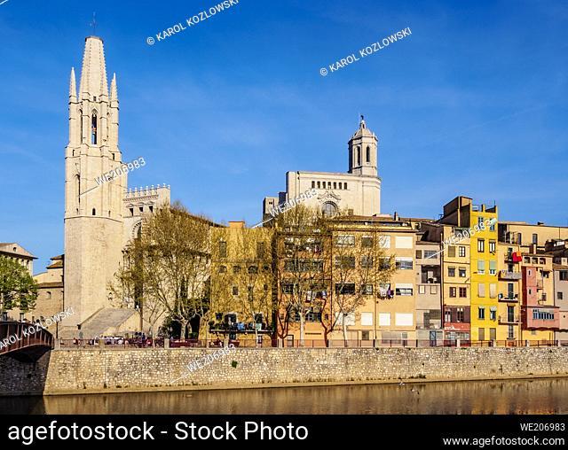 Sant Feliu Basilica and the cathedral, Old Town, Girona or Gerona, Catalonia, Spain