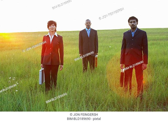 Three businesspeople standing in field