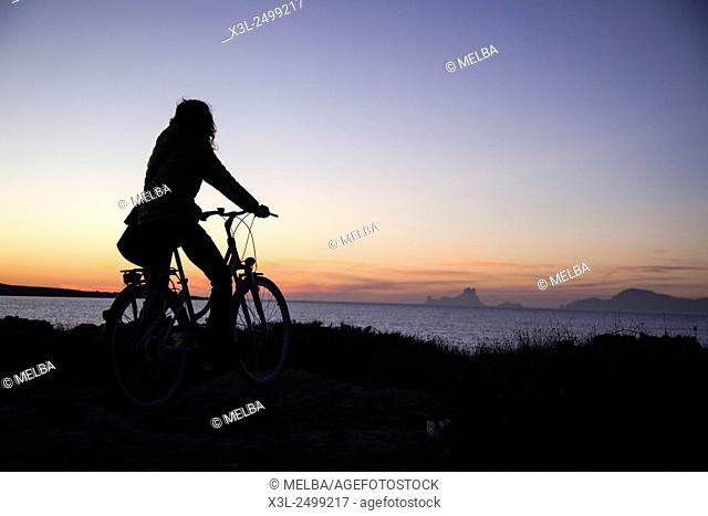 Es Vedra from Estany des Peix, Formentera. Balearic islands. Spain