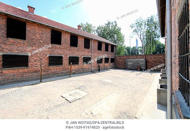 A view into the yard between Block 10 and 11 in the former Auschwitz concentration camp in Oswiecim, Poland, 26 June 2017