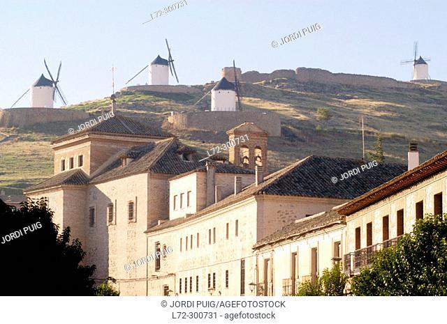 Windmills and village. Consuegra. Toledo province. Castilla-La Mancha. Spain