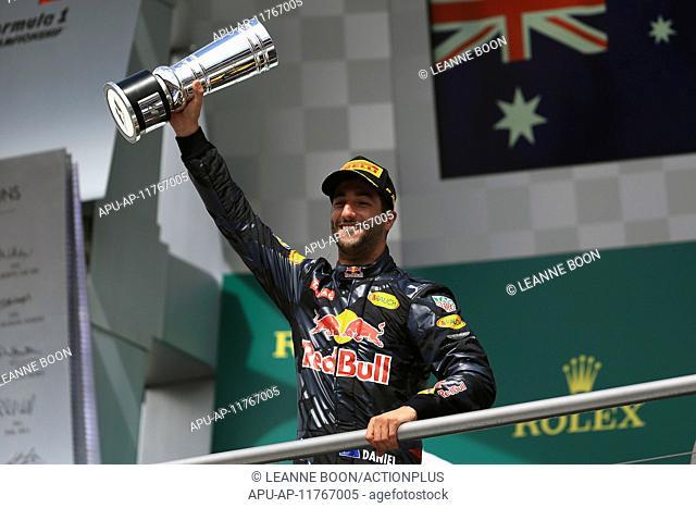 2016 F1 Grand Prix of Germany Hockenheim Race Day Jul 31st. 31.07.2016. Hockenheim, Germany. Red Bull Racing – Daniel Ricciardo comes in 2nd on podium