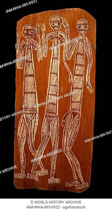 Painting titled 'Three Mimi' by Jimmy Midjaw Midjaw (1897-1985) an Aboriginal Australian visual artist. Dated 20th Century