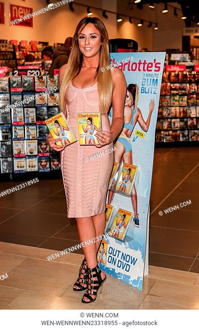 """Charlotte Crosby launches her fitness dvd """"""""Charlotte's 3 Minute Bum Blitz"""""""" at HMV Westfield Featuring: Charlotte Crosby Where: London"""
