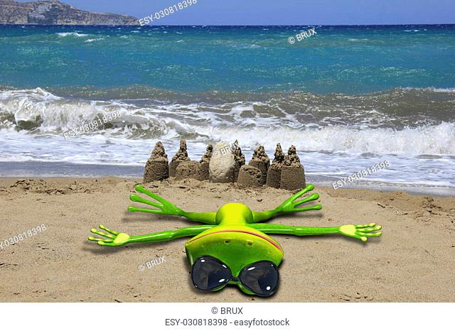 Illustration of a green frog lays on the beach