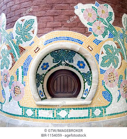 Palau de la Musica Catalana, Palace of the Catalan Music, mosaics of the ticket office, architect Luis Doménech y Montaner, Ribeira district