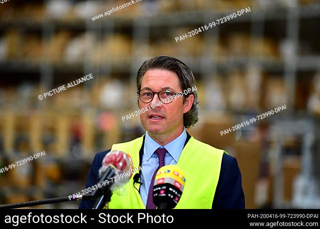 16 April 2020, Brandenburg, Großbeeren: Andreas Scheuer (CSU), Federal Minister of Transport and Digital Infrastructure, answers the question of the logistics...