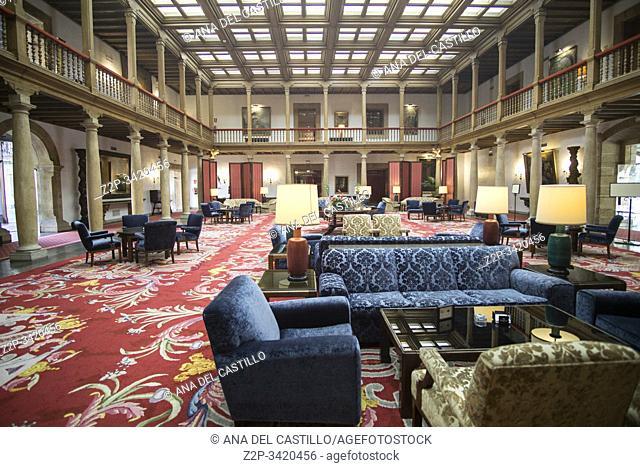 Oviedo Asturias Spain on September 7, 2019: Hotel Reconquista interior five stars hotel in a historic building