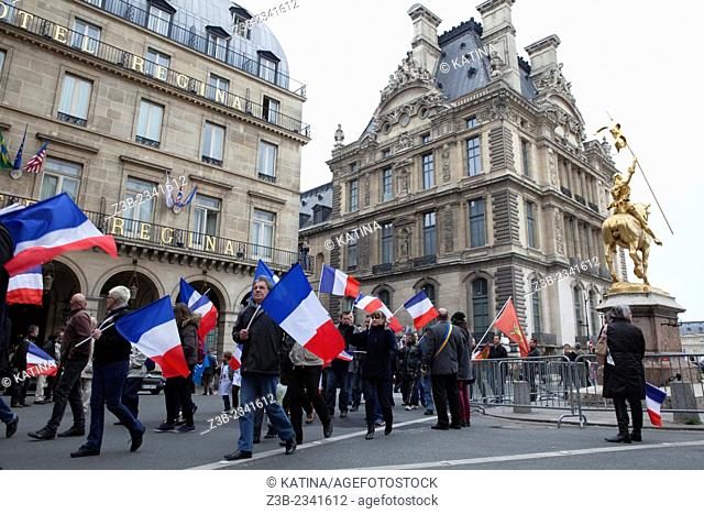 French National Front political party supporters during the party's traditional May Day rally at the Place des Pyramides, Paris, France, 01 May 2013, Europe