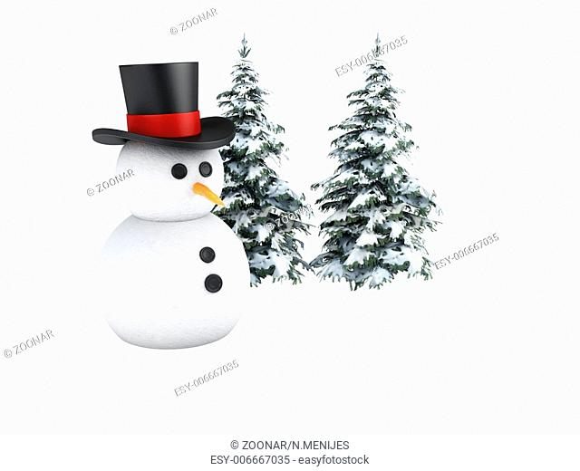 snowman 3d. winter concept on white background