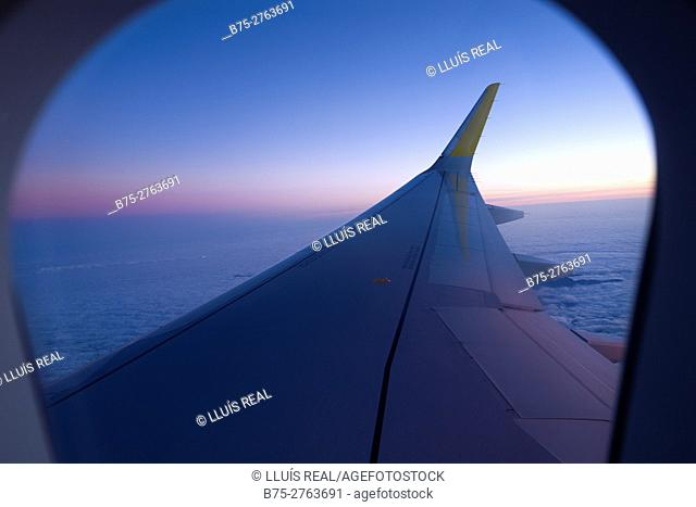View of airplane wing through window