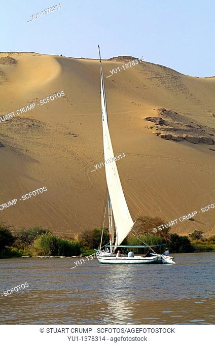 A Felucca sailing boat on the River Nile Aswan, Egypt, North Africa