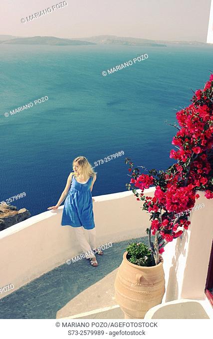Woman in Oia, Santorini, Cyclades Islands, Greece