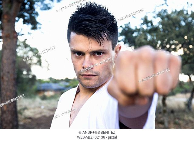 Challenging man showing his fist doing a martial arts pose