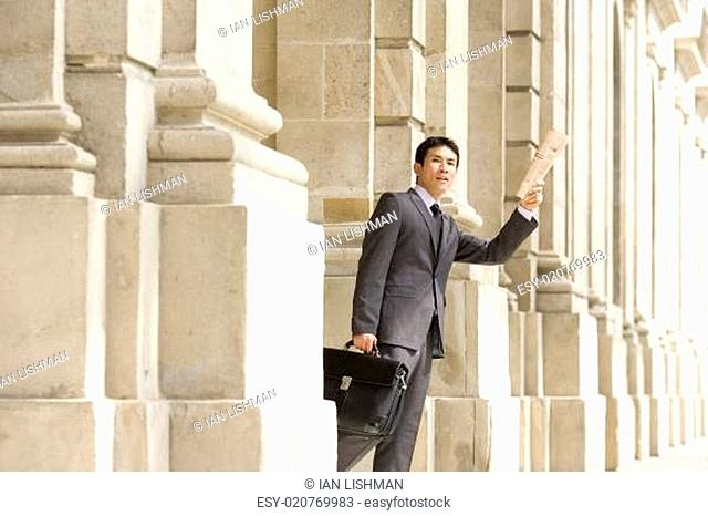 Businessman with briefcase holding up newspaper, low angle view