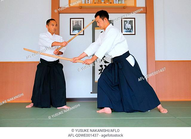 Japanese Aikido masters practicing