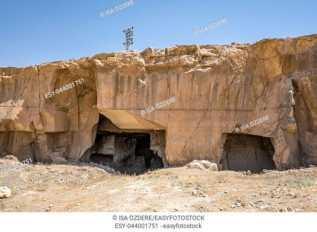 Exterior view of Bazda Caves for mining of stone in Harran,Sanliurfa,Turkey