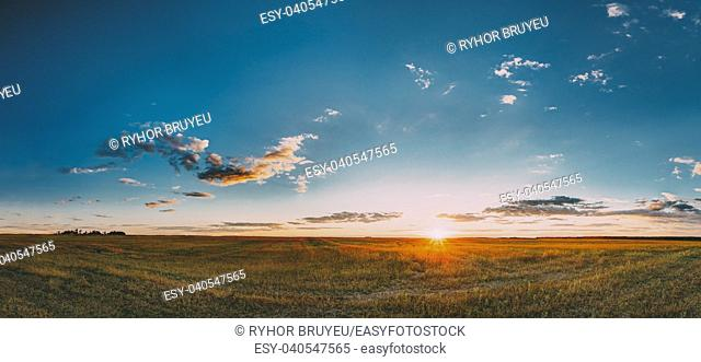 Sunset, Sunrise Over Rural Meadow Field In August Month. Countryside Landscape Under Scenic Summer Dramatic Sky In Sunset Dawn Sunrise