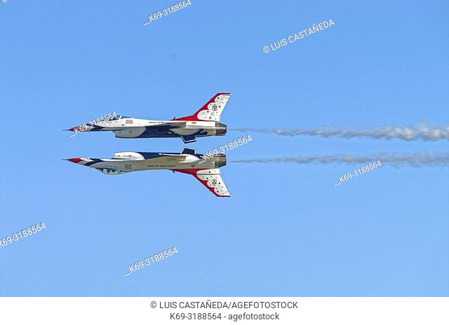 """""""""""The Thunderbirds"""". US Air Force Acrobatic Team. . The Thunderbirds are the air demonstration squadron of the United States Air Force (USAF)"