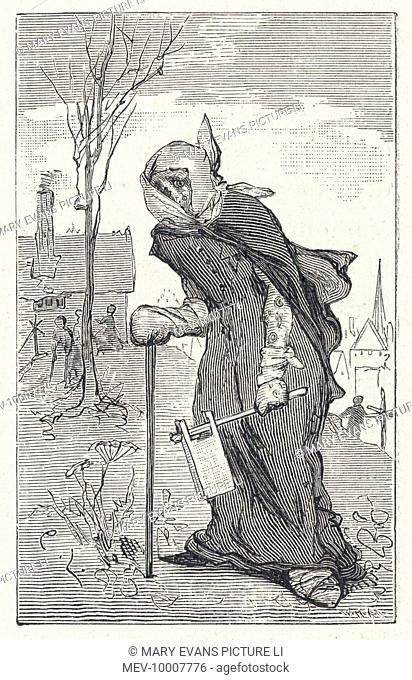 A wandering leper, with a clapper to warn people of his/her approach