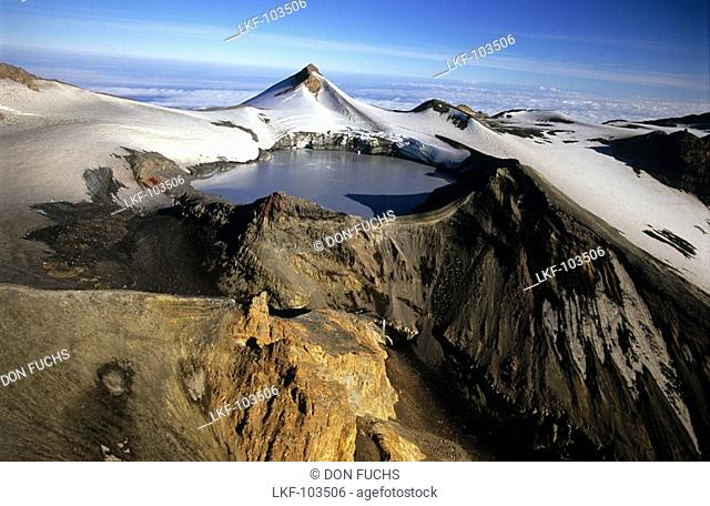 Peak of Mt.Ruapehu with crater lake, North Island, New Zealand