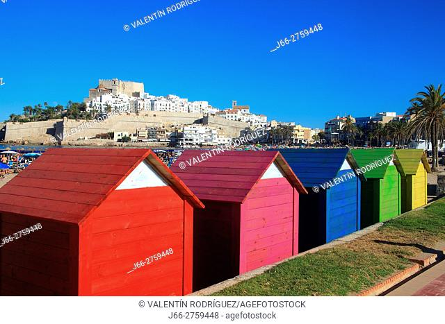Colored deckhouses on the beach in Peñíscola. Castellón