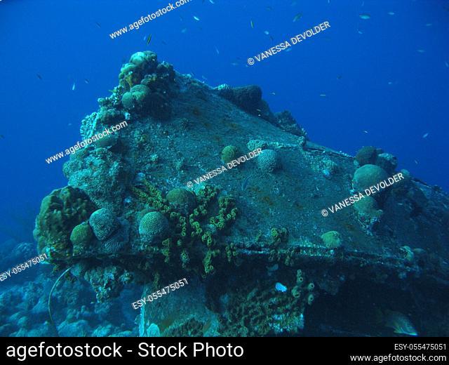 Wreck in the caribbean sea around Bonaire, Dutch Antilles