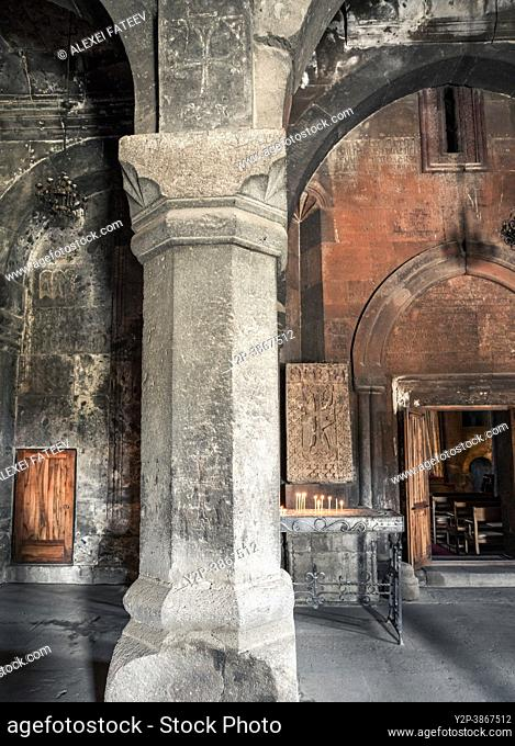 13th-century Armenian monastic complex Saghmosavank located in the Aragatsotn Province of Armenia