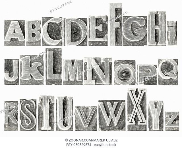 English alphabet set - a collage of 26 isolated letters in letterpress metal type printing blocks, a variety of mixed fonts with a digital charcoal painting...