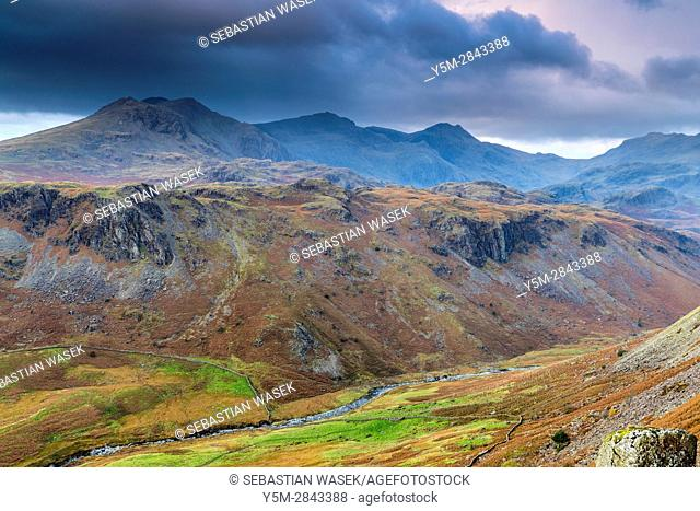 Looking down from Hardknott Pass, Lake District National Park, Cumbria, England, United Kingdom, Europe