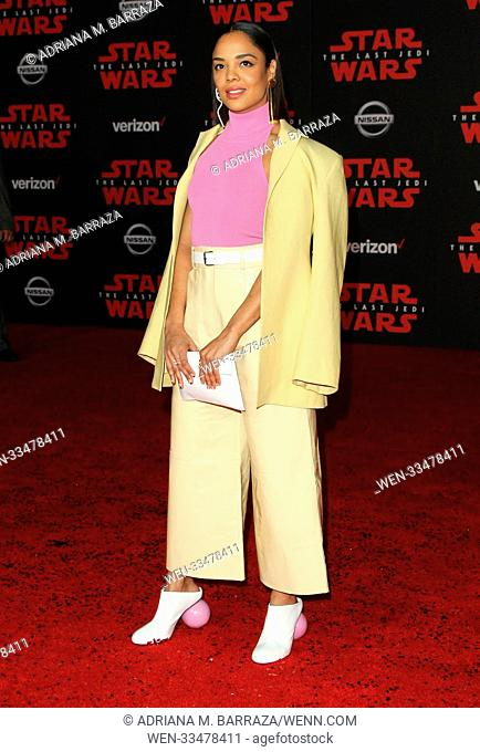 """Star Wars: The Last Jedi"" Premiere held at the Shrine Auditorium in Los Angeles, California. Featuring: Tessa Thompson Where: Los Angeles, California"