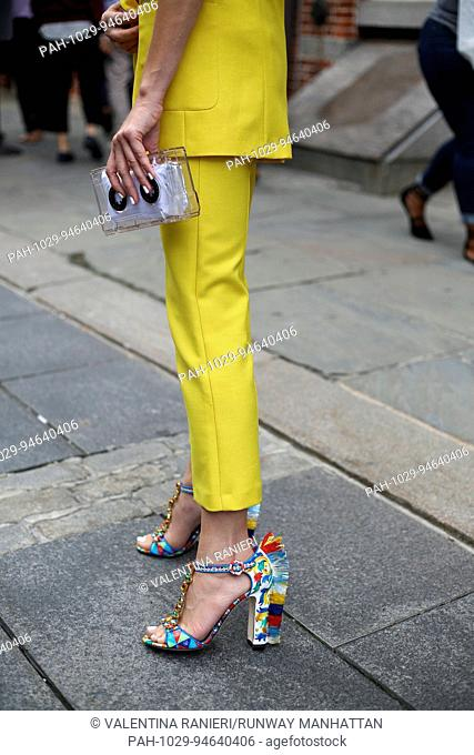 Denisa Palsha posing on the street during New York Fashion Week - Sept 8, 2017 - Photo: Runway Manhattan/Valentina Ranieri ***For Editorial Use Only*** |...