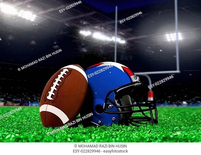 Football Equipment On Grass in Stadium with Spotlights