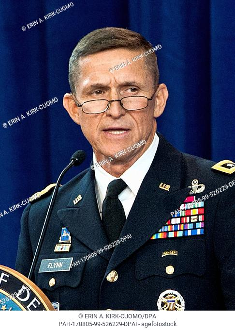 FILE- Archival material shows Army Lieutenant General Michael Flynn speaking at the Defense Intelligence Agency change of directorship at Joint Base...