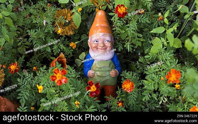 east german garden gnome at veb orange ostalgia shop, prenzlauer berg, berlin, germany