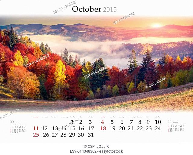 Calendar 2015. October. Colorful autumn landscape in mountains