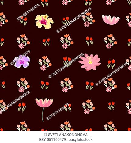Small tulips, poppies, lotuses, lilies on brown background. Japanese, Chinese, Korean motifs. Vintage textile collection