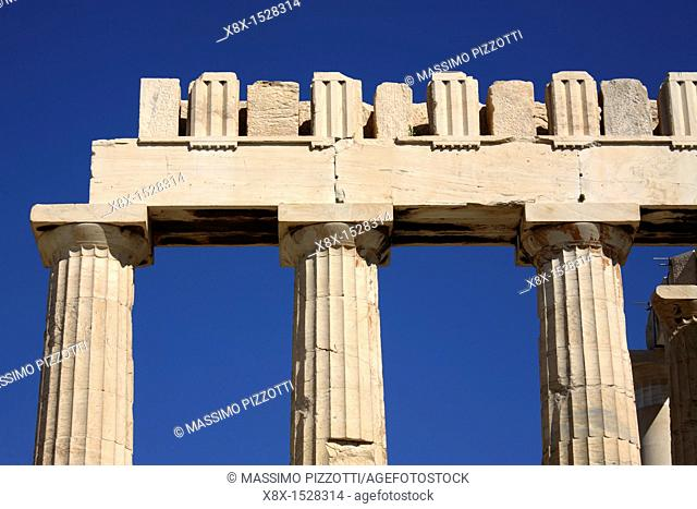 Detail of architrave and columns of Parthenon, Athens, Greece